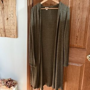 Long Army Green Cardigan